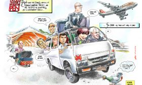 Celebrity Caricature- Mayor Bob Parker and the Airport Bosses-1